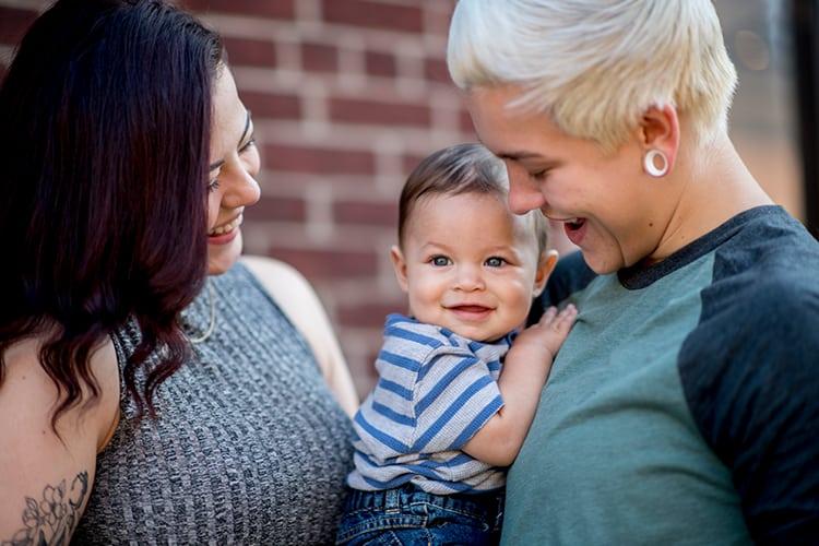 A co-parenting lesbian couple