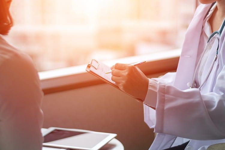 A doctor diagnosing endometriosis