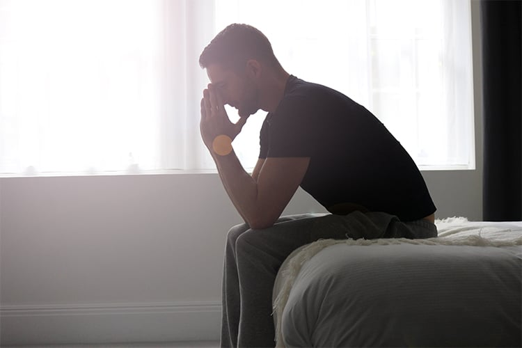 A anxious man thinking about klinefelter and infertility